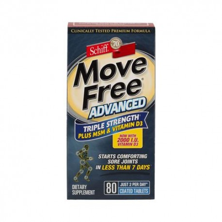 Schiff Move Free Advanced Triple Strength Plus Msm And Vitamin D3 (80 Coated Tablets)