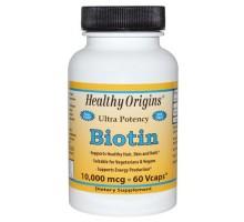 Origen sano Biotin 10.000 Mcg (60 Veg Caps)