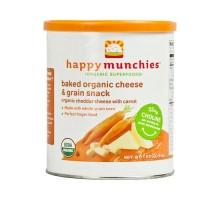 Bebé feliz feliz Munchies horneados Snacks orgánicos Cheddar queso con zanahorias (Pack 6) 1,63 Oz