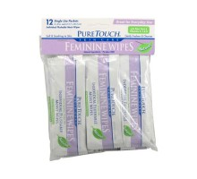 Puretouch Individual Flushable Moist Feminine Wipes (1x12 Count)