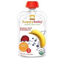 Happy Baby Banana, remolacha y alimentos para bebés Blueberry etapa 2 (16x3.5 Oz)